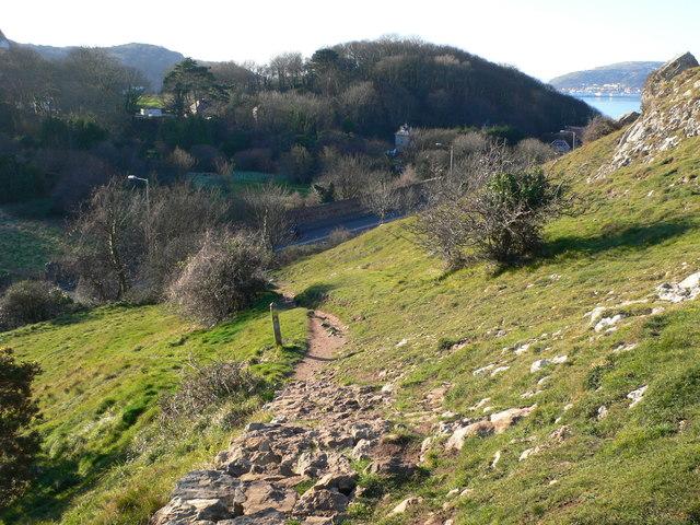 North Wales Coast Path descending through Rhiwledyn to the Llandudno road