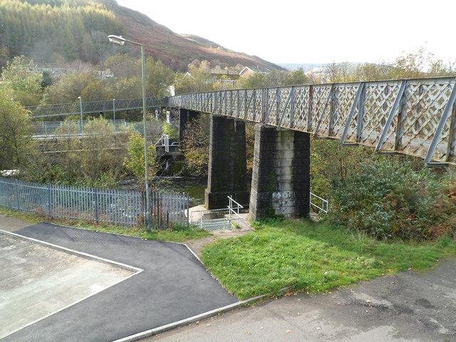 Long footbridge to Ystrad Rhondda railway station