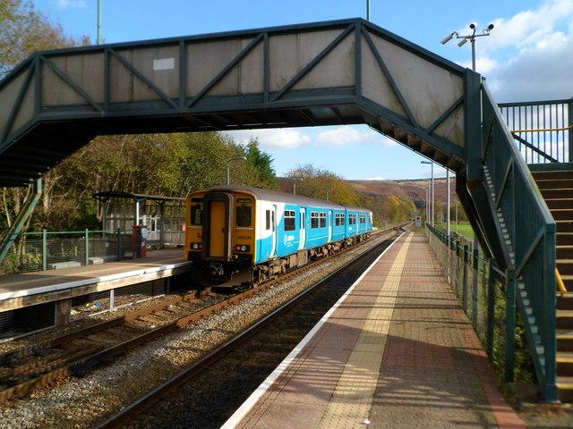 Train for Cardiff waits in Ystrad Rhondda railway station