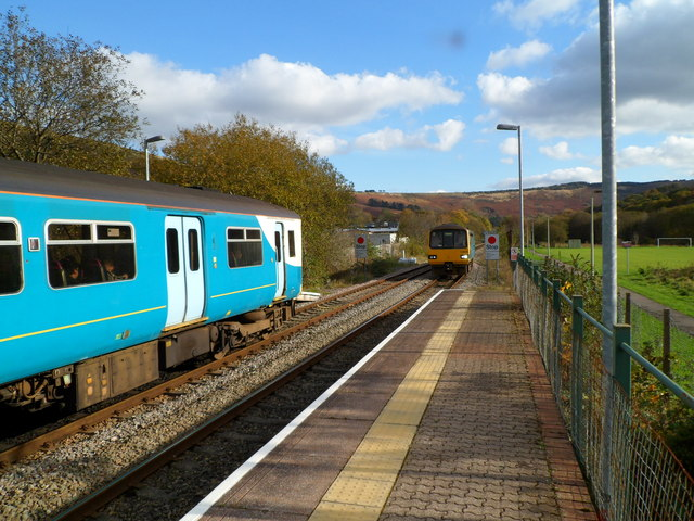 Train from Cardiff arrives at Ystrad Rhondda station