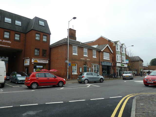 Looking across Gosbrook Road towards Church House