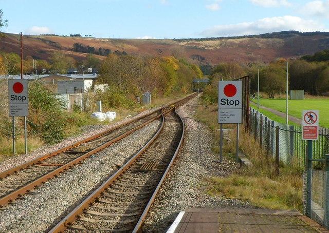 Stop signs at the SE end of Ystrad Rhondda railway station
