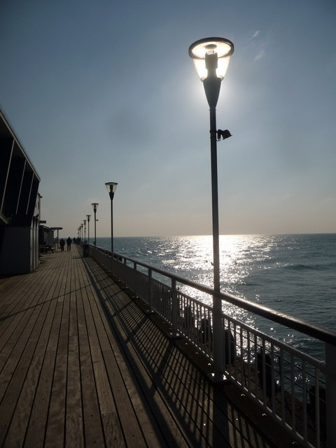 Bournemouth: pier lamps on a sunny lunchtime