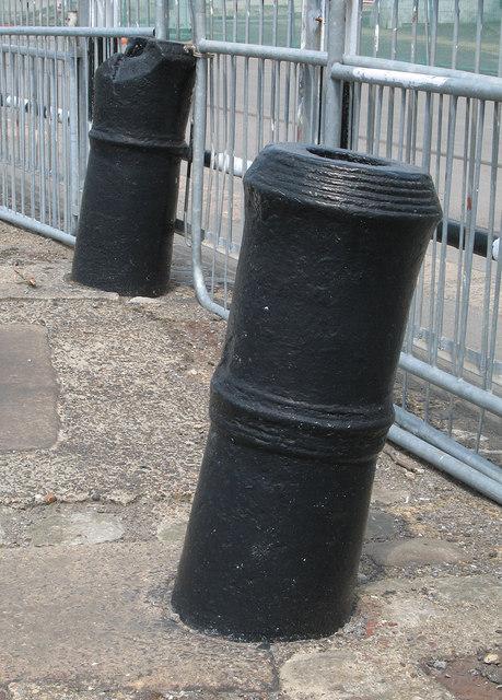 Old cannon reused as mooring bollards