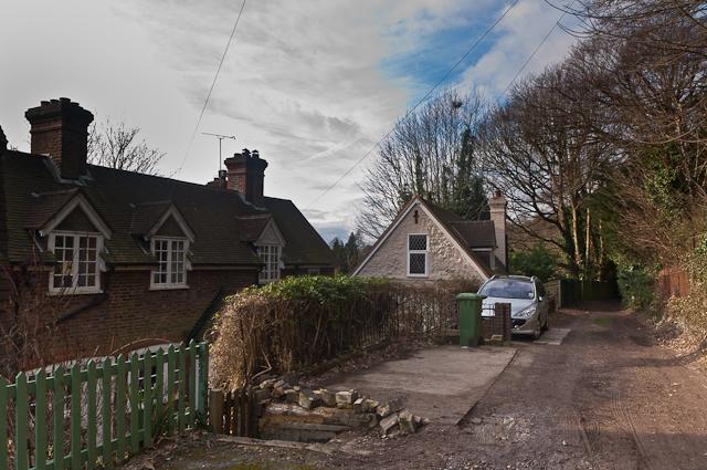 Cottages on Pilgrims' Way bridleway
