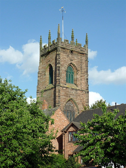 The tower of St Michael and All Saints Church in Penkridge