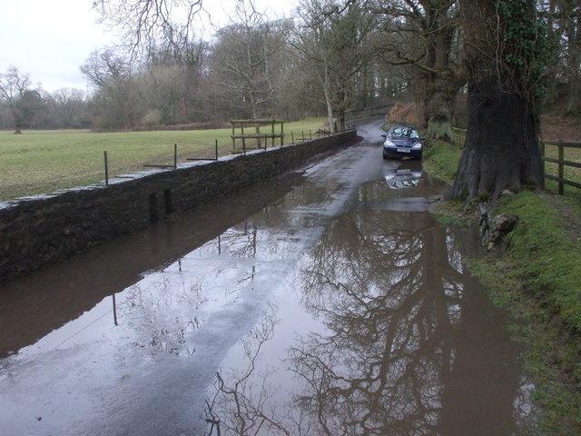 Merthyrmawr Rd near New Bridge, flooded