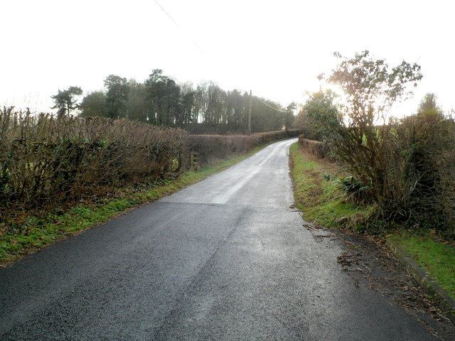 Ton Road heads SW away from Llangybi