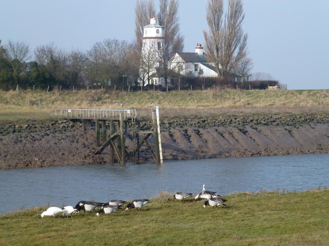 Guy's Head lighthouse on the west bank of the River Nene