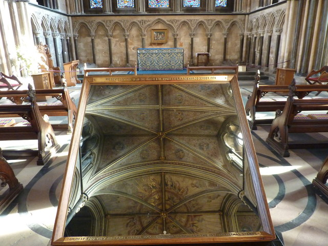 Mirror to observe the roof, Worcester Cathedral