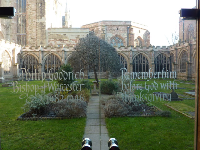 Glass door from the Cloisters to the Garden, Worcester Cathedral