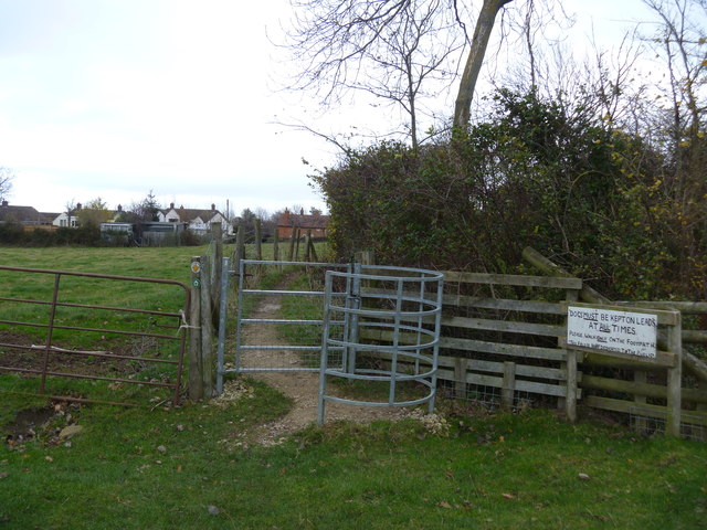 Kissing gate and sign