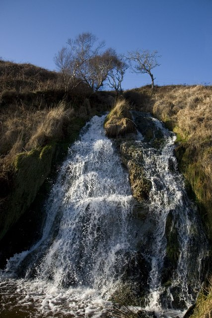 Waterfall at mouth of Allt Bhachlaig, Islay