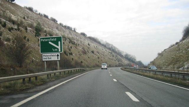 A3, approaching Petersfield