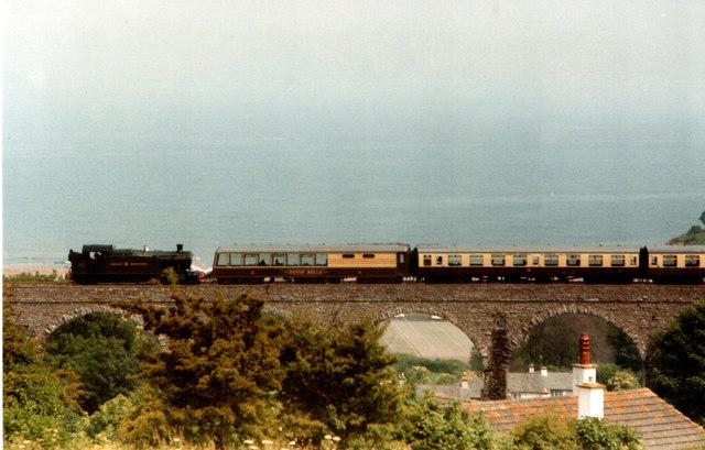 Steam Train on Viaduct Broadsands Devon 1983