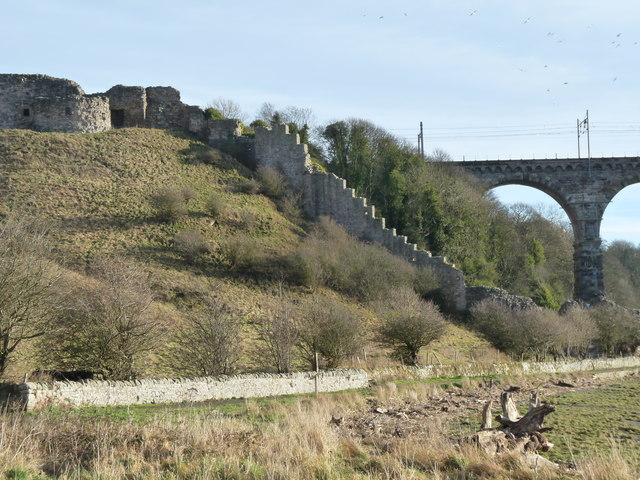 Berwick Castle wall and Royal Border Bridge