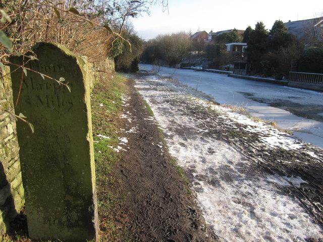 'From Marple 8 miles' canal milestone Bollington