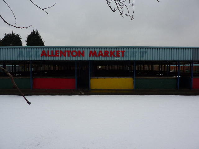 Allenton Market, on a day with lying snow