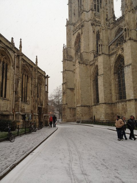 York Minster, as it started to snow