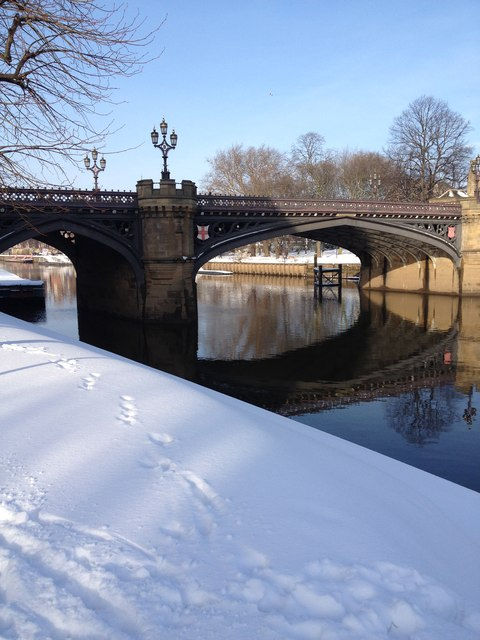 Skeldergate Bridge in snow, York