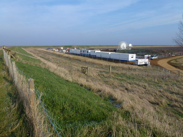 Contractors site compound near the east bank lighthouse, Sutton Bridge