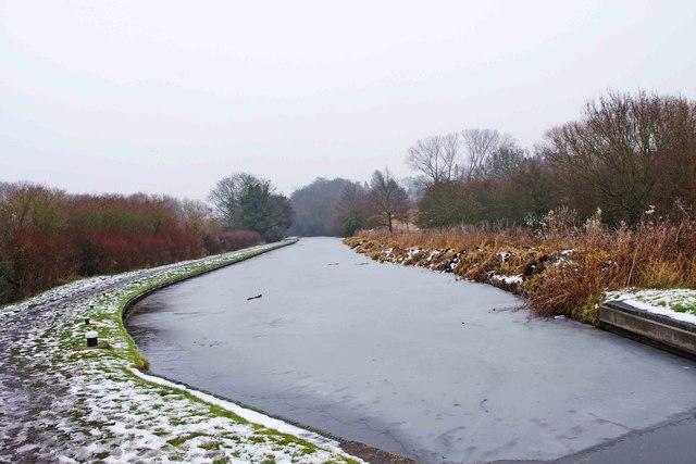 Frozen canal north of Wolverley Court Lock, near Wolverley