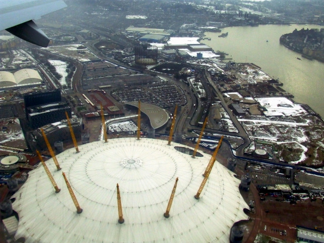 The Millennium Dome and Isle of Dogs from the air