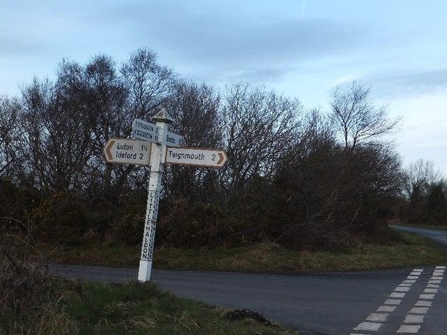 Signpost at Little Haldon (crossroads)