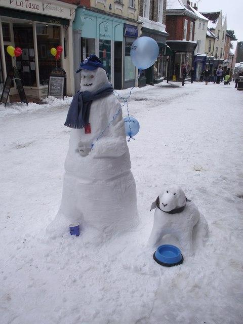 Snowman And Snowdog Christmas Cake Decorations
