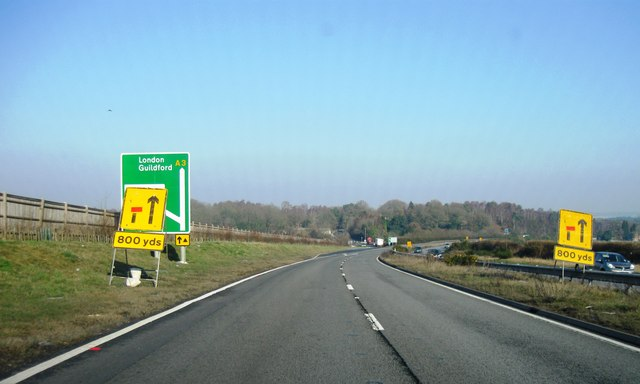 A3, turning for Thursley