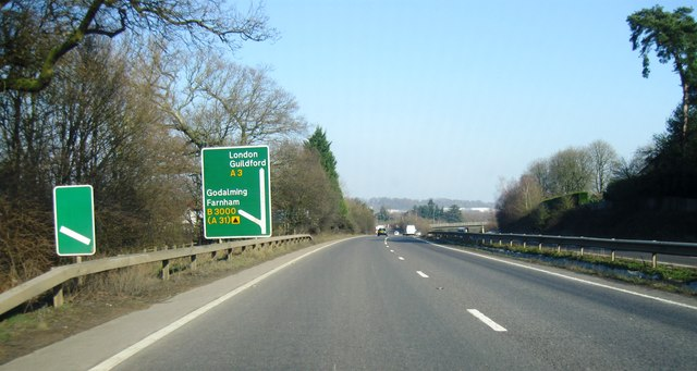 A3, turning for Godalming