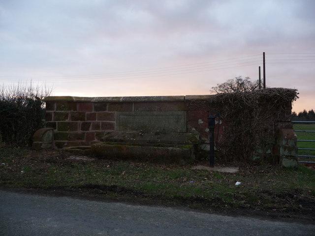 Memorial drinking trough and hand water pump at Dunn's Heath