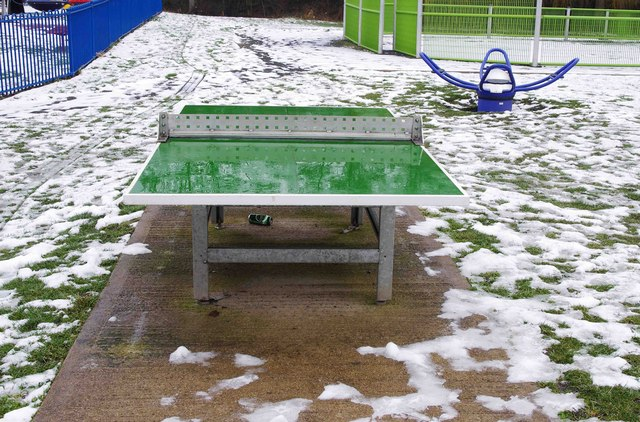 Outdoor table tennis table at p l chadwick geograph britain and ireland - Table tennis table ireland ...