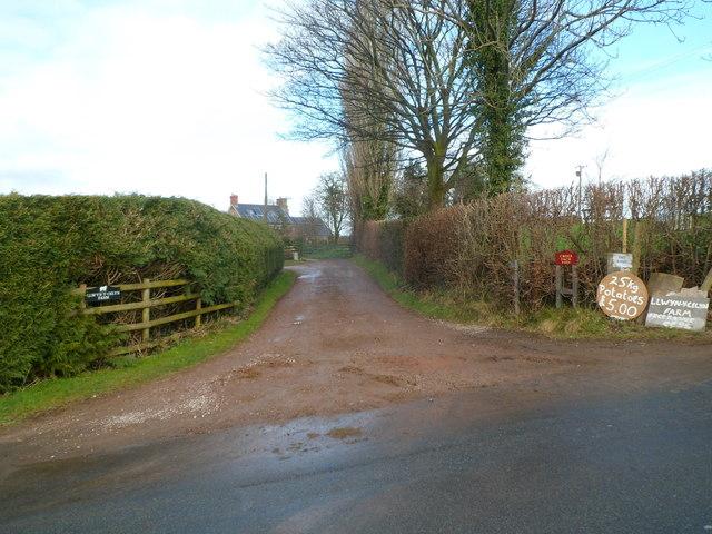Farm entrance track, Sluvad Road east of New Inn