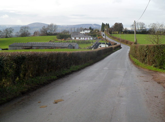 Looking west along Sluvad Road towards New Inn