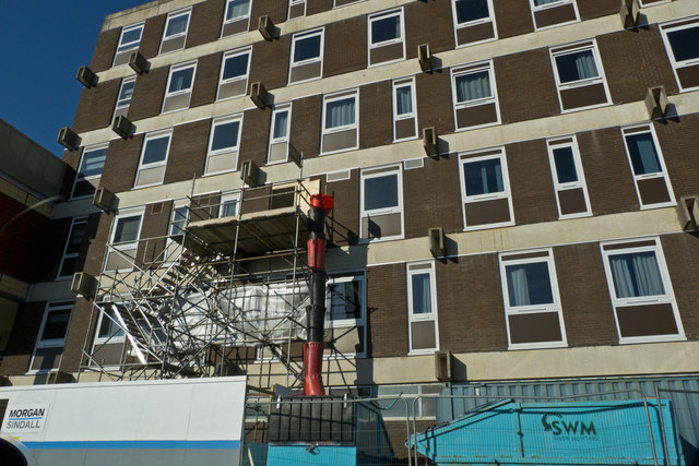 Contractors Scaffold on a wall of the North Devon District Hospital