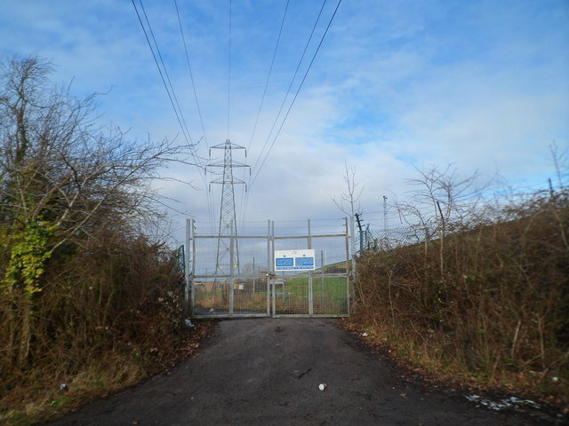 Entrance gates at the western edge of Welsh Water's Sluvad site
