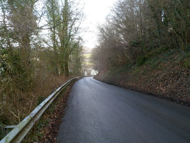 Road from Sluvad descends towards Llandegfedd Reservoir