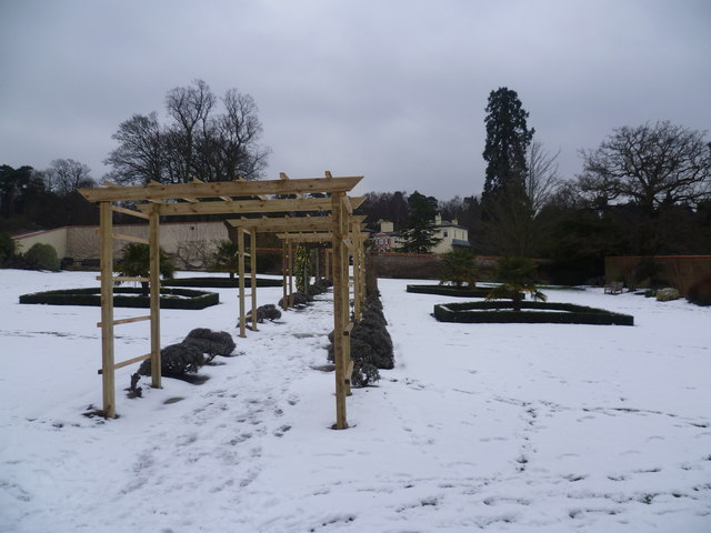 The walled garden at Heathfield in the snow