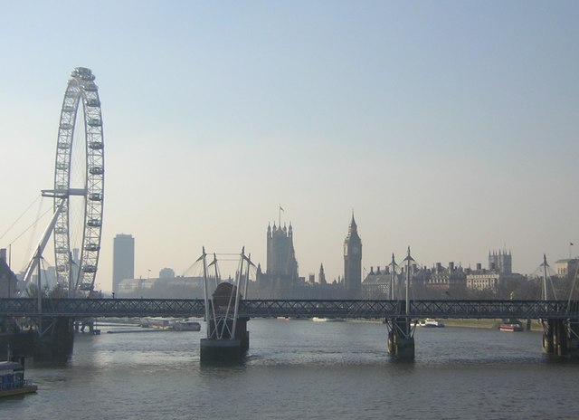 Winter view from Waterloo Bridge: looking south to Westminster