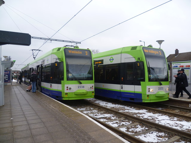 Trams pass at Fieldway