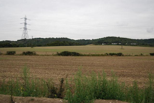 Pylons and farmland near Burham