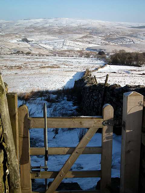 Gate and dry stone wall at Fell Close