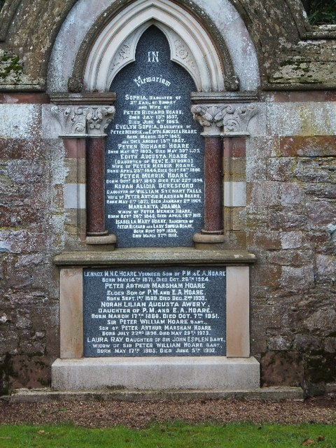 Memorial to the Hoare family of Luscombe Castle