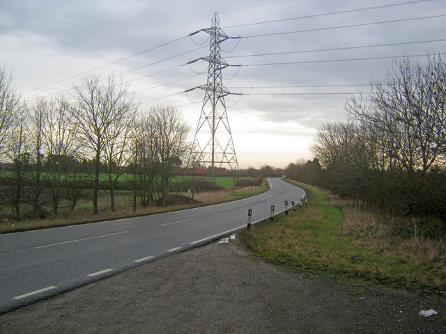 Power lines cross the A616