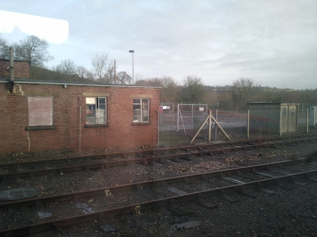Rails and track-side buildings at Yeovil Junction station