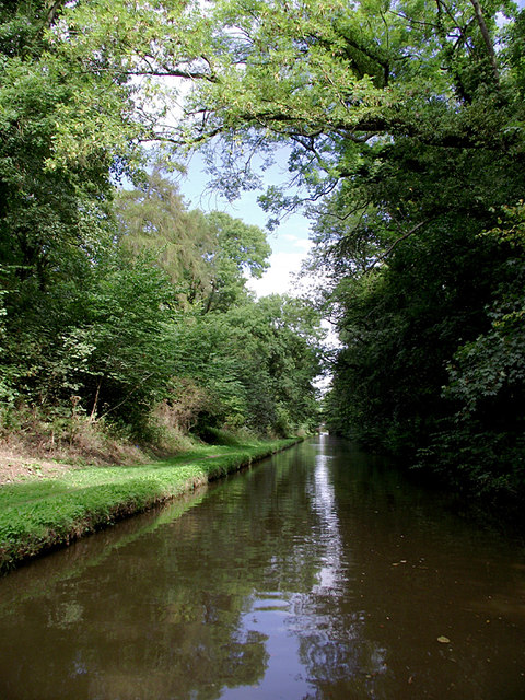 Shropshire Union Canal in Castle Cutting near Gnosall, Staffordshire