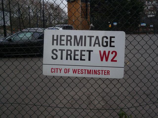 Street sign, Hermitage Street W2