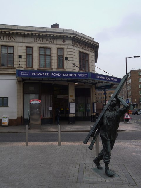 Statue and Edgware Road Underground Station, Cabbell Street NW1