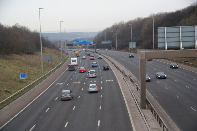 The M6 approaching Junction 31